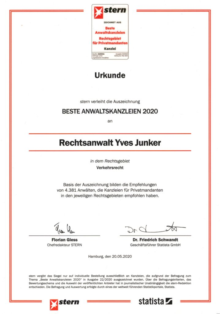 Rechtsanwalt Yves Junker hat es mit seiner Kanzlei für Verkehrsrecht in die Liste der Besten Anwaltskanzleien 2020 geschafft.